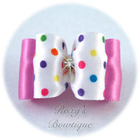 Bubble Gum Birthday Dots - Adult Dog Bow