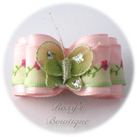 Light Pink Satin Butterfly - Adult Dog Bow