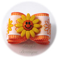 Tangerine Happy Face - Adult Dog Bow