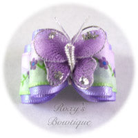 Lavender Satin Butterfly - Adult Dog Bow