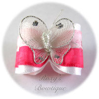 Pink Satin Butterfly - Adult Dog Bow
