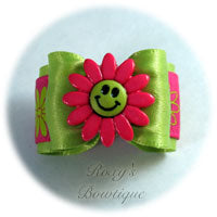 Apple Green Happy Face with Hot Pink - Adult Dog Bow