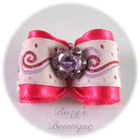 Shocking Pink Crystal Rose - Adult Dog Bow