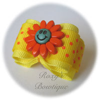 Lemon Happy Face with Tangerine Dots - Adult Dog Bow