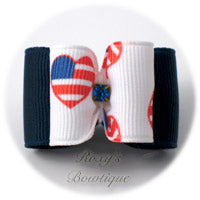 Patriotic Hearts (Blue) - Adult Dog Bow