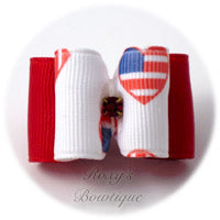 Patriotic Hearts (Red) - Adult Dog Bow