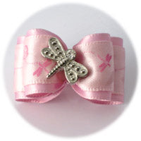 Pink Dragonfly Dog Bow
