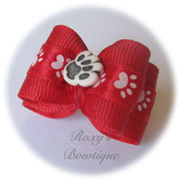 Red and White Paw - Adult Dog Bow