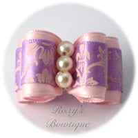 Light Pink with Antique White Pearls - Adult Dog Bow