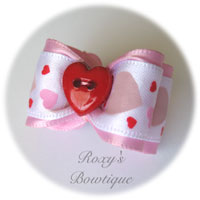 Pink with Red Heart Adult Dog Bow