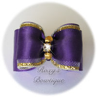 Regal Purple with Two Gold Beads and Rhinestone - Adult Dog Bow