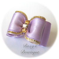 Lavender with Two Gold Beads and Rhinestone - Adult Dog Bow
