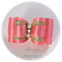 Coral Rose Double Loop Dog Bow