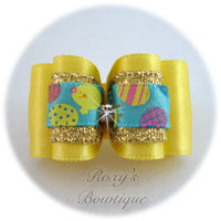 Lemon and Easter Eggs - Adult Dog Bow