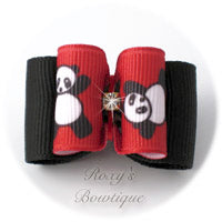 Red Tumbling Panda - Adult Dog Bow