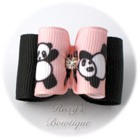 Pink Tumbling Panda - Adult Dog Bow