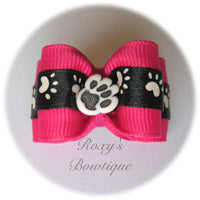 Shocking Pink and White Paws - Adult Dog Bow