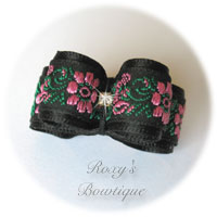 Black with Pink Rose and Rhinestone - Puppy Dog Bow