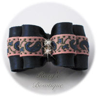 Navy Blue with Pink - Adult Dog Bow