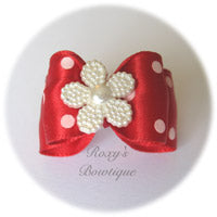 Red and White Dots - Adult Dog Bow