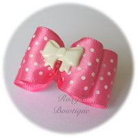Pink and White Dots - Adult Dog Bow