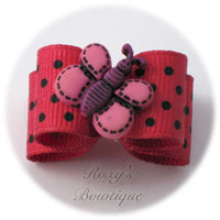 Hot Pink with Black Dots Butterfly - Puppy Dog Bow