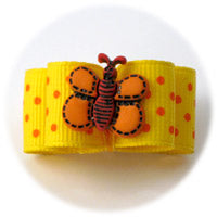 Yellow with Orange Dots - Butterfly Puppy Dog Bow