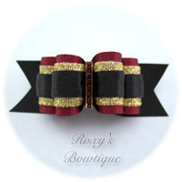 Roxy's Special Selection - Black and Wine - Adult Dog Bow