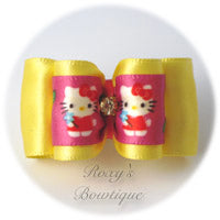 Hello Kitty Dog Bow - Yellow - Adult Dog Bow