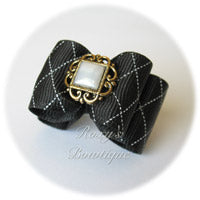 Elegant Black Bow - Adult Dog Bow