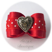 Red with White Dots and Silver Heart - Adult Dog Bow