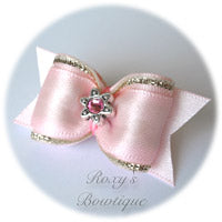 Pearl Pink with Light Pink Star - Adult Dog Bow