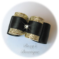 Black and Gold with Rhinestone - Puppy Dog Bow