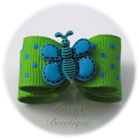 Lemon Grass with Turquoise Dots - Butterfly Puppy Dog Bow