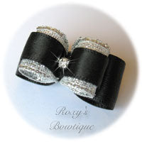 Black and Silver with Rhinestone - Puppy Dog Bow