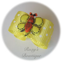 Lemon with White Dots - Butterfly Puppy Dog Bow