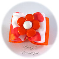 Sweet Orange Flower - Adult Dog Bow
