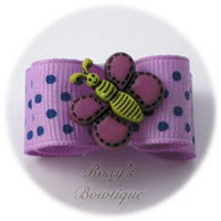 Light Orchid with Blue Dots - Butterfly Puppy Dog Bow