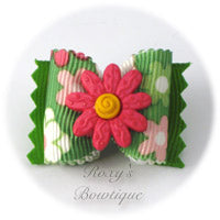 Crazy Daisies Pink & Green - Adult Dog Bow