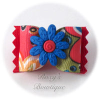 Crazy Daisies Blue & Pink - Adult Dog Bow