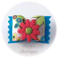 Crazy Daisies Pink & Blue - Adult Dog Bow