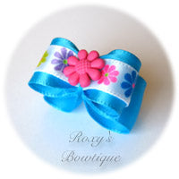 Island Blue with Pink Summer Flower Puppy Dog Bow