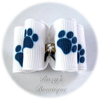 White and Navy Paws - Adult Dog Bow