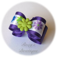 Regal Purple with Lemon Grass Summer Flower Puppy Dog Bow