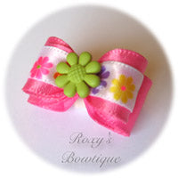 Hot Pink with Lemon Grass Summer Flower Puppy Dog Bow
