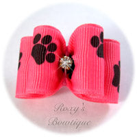 Hot Pink and Black Paws Adult Dog Bow