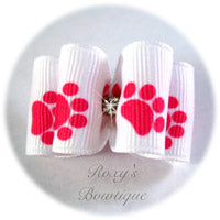 White and Hot Pink Paws - Adult Dog Bow
