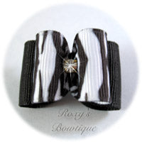 White Tiger Stripe - Adult Dog Bow