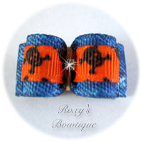 Denim and Skull Orange Dog Bow - Puppy Dog Bow
