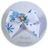 Baby Snowflakes Dog Bow - Baby Dog Bow